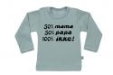 Wooden Buttons t-shirt lm  50 mama 50 Papa 100 Ikke old green
