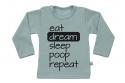 Wooden Buttens t-shirt lm eat dream sleep poop repeat old green