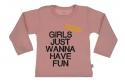 Wooden Buttons t-shirt lm Girls just wannahave fun old roze
